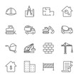 Construction vector icons set, outline style