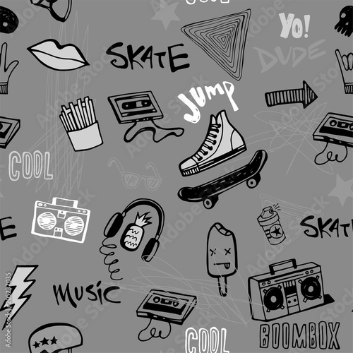 Fototapeta Seamless pattern with Hipsters teens doodles