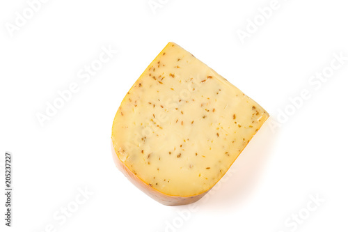 Сheese with caraway isolated on white