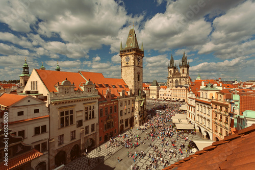 PRAGUE, BOHEMIA, CZECH REPUBLIC - View of the Old Town, Old Town Square, the Chu Poster