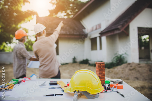 Fotografie, Obraz Engineer inspection in workplace for architectural plan