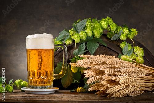 Foto op Plexiglas Bier / Cider Still life with Hops, Beer and Barley.