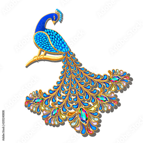 Illustration Jewelry brooch peacock with precious stones Canvas-taulu