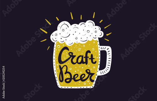 Beer Mug With Creative Lettering Inside Hand Drawn Illustration