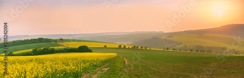 Montage in der Fensternische Landschappen Old windmill at sunset. Spring landscape. Moravia fields panorama