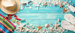 Beach Accessories With Seashells On Wooden Board