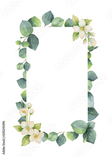 Watercolor Vector Frame With Green Eucalyptus Leaves