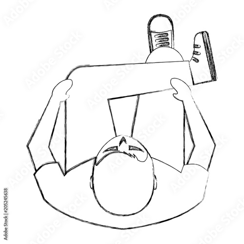 Man Is Sitting On Sofa View From Above Vector Illustration Buy