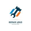 Logo design abstract repair vector template.