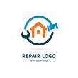 Logo design abstract home repair vector template.