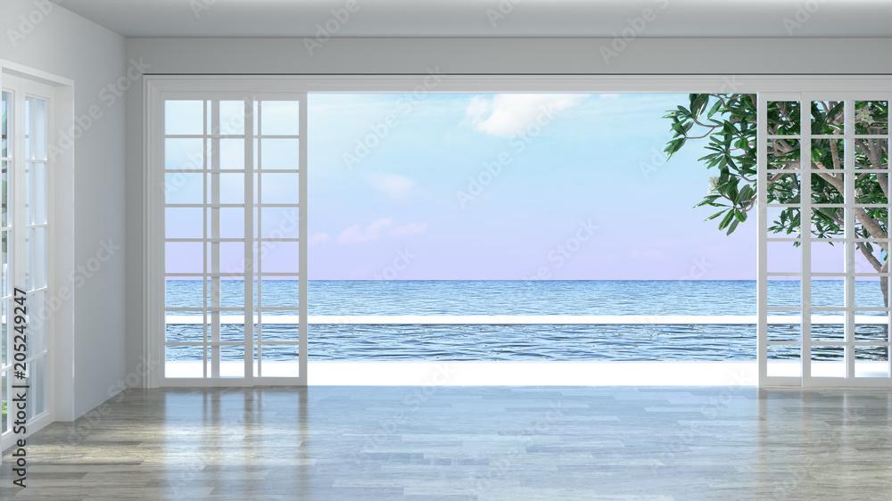 Fototapeta Luxury empty room interior villa with wooden floor, aerial sea view 3d illustration summer holiday