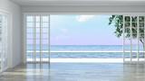 Luxury empty room interior villa with wooden floor, aerial sea view 3d illustration summer holiday