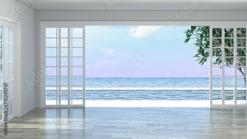 Obraz Luxury empty room interior villa with wooden floor, aerial sea view 3d illustration summer holiday - fototapety do salonu