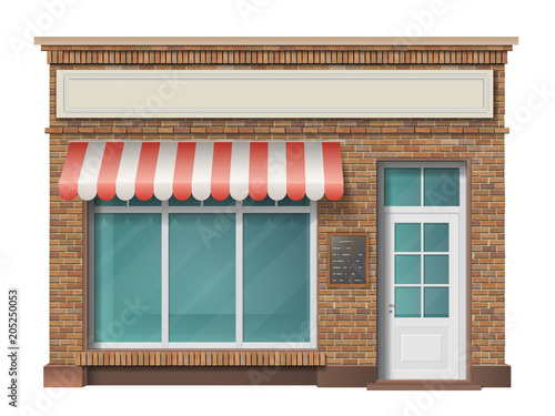 Canvas Print Brick small store building facade with big window and awning