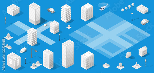 The isometric city with skyscraper