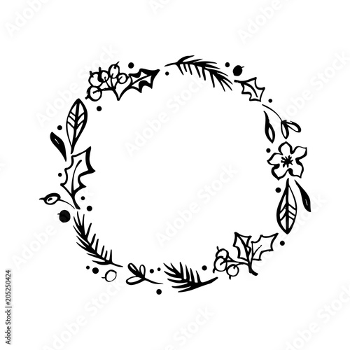 Floral Rustic Branches Flowers And Leaves Wreath For Wedding