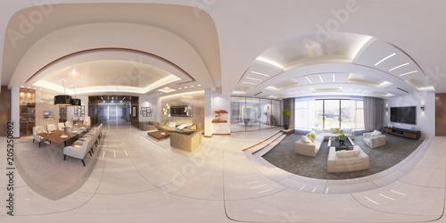 Tela  3d Illustration of modern interior 360 hall