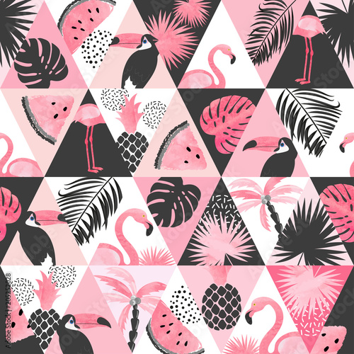 Photo sur Aluminium Aquarelle la Nature Seamless watercolor tropical pattern in patchwork style. Vector trendy background with flamingo, palm leaves, watermelon.