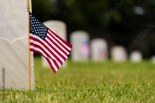 Fotografía Small American flags and headstones at National cemetary- Memorial Day display
