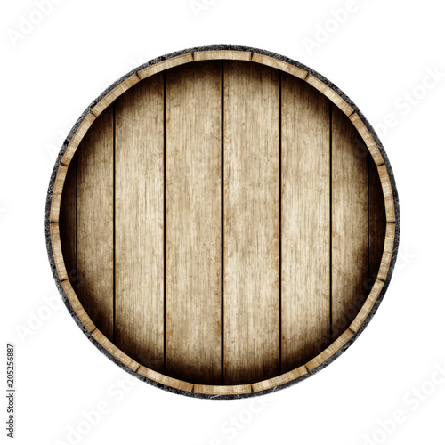 Wooden barrel isolated on white background, top view. 3d rendering. Fototapete