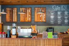 Wooden Coffee Bar ; Coffee Shop Counter