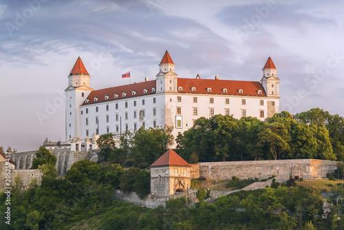 Keuken foto achterwand Kasteel Spring sunrise impression of Bratislava castle (Slovakia)