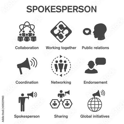 Vászonkép Spokesperson icon set - bullhorn, coordination, pr, and public relations person