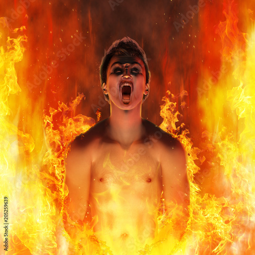 Obraz na plátne Screaming Man in the Flames of Hell