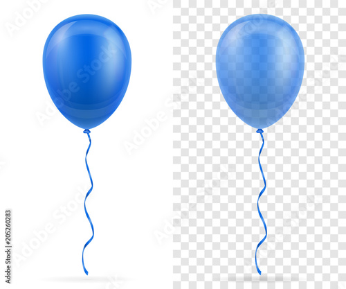 Fotografie, Obraz  celebratory blue transparent balloons pumped helium with ribbon stock vector ill