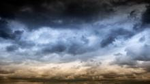 Dark Sky And Cloud. Rain Coming On Mountain.