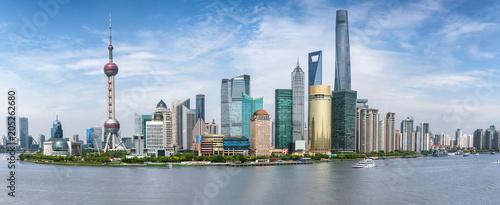 Panoramasicht auf die Skyline von Shanghai in China an einem sonnigen Tag Wallpaper Mural