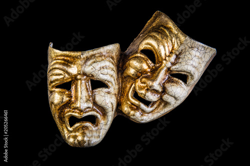 Fotografie, Tablou  theatrical mask smile and sadness on a black background