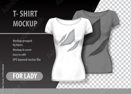 T-Shirt template, fully editable with torn clothes. EPS 10 Vector ...