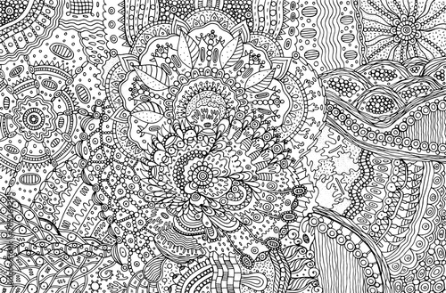Carta da parati Coloring page for adults with abstract doodle background. Cartoo