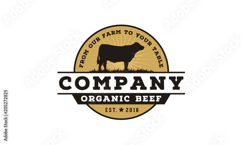 Fotografie, Tablou Vintage Cattle / Beef Label Emblem logo design inspiration