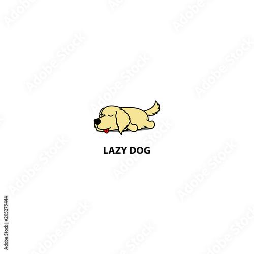 Lazy Dog Cute Golden Retriever Puppy Sleeping Icon Logo Design