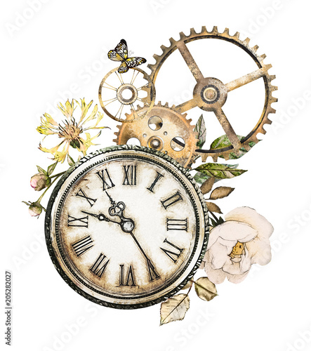 Foto op Aluminium Vlinders in Grunge steam punk watercolor Illustration, roses, feathers, clockwork, jewelry, clock, Flowers. tattoo style. Illustration isolated on white background. Vintage print.