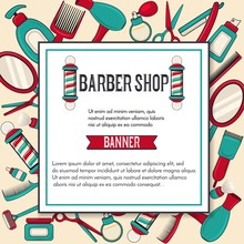 Vintage Barbershop Vector Bann...
