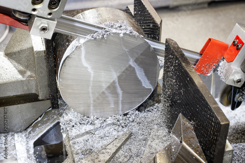 Fotografie, Obraz  industrial metal machining cutting process of blank detail by mechanical electri