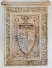 Duchy Of Urbino And Montefeltro Family Coat Of Arms In The Ducal Palace Of Urbino, City And World Heritage Site In The Marche Region Of Italy.