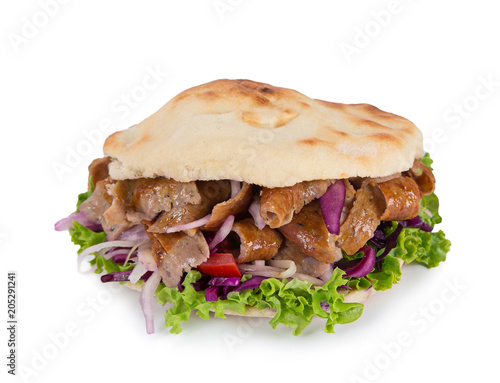 Turkish Doner Kebab Sandwich on white background.