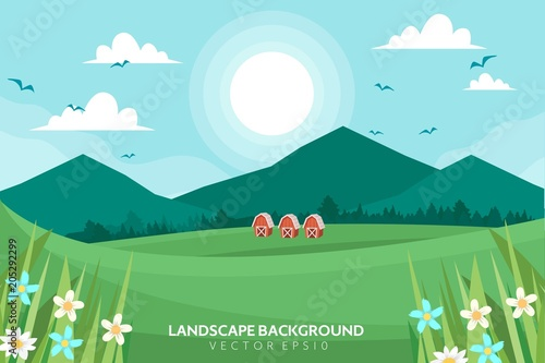 Deurstickers Lichtblauw Landscape Background