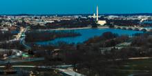 MARCH 26, 2018 - ARLINGTON, VA - WASH D.C. - Aerial View Of Washington D.C. From Top Of Town Restaurant, Arlington, Virginia Shows Lincoln & Washington Memorial And U.S. Capitol