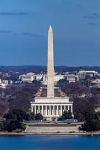 MARCH 26, 2018 - ARLINGTON, VA - WASH D.C. - Aerial View Of Washington D.C. From Top Of Town Restaurant, Arlington, Virginia Shows Lincoln & Washington Memorial Blocking Out US Capitol