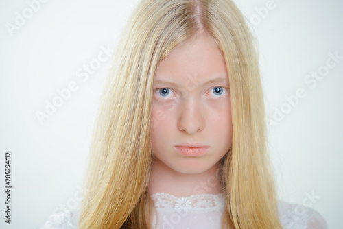 Tablou Canvas Albino girl with blue eyes and white skin