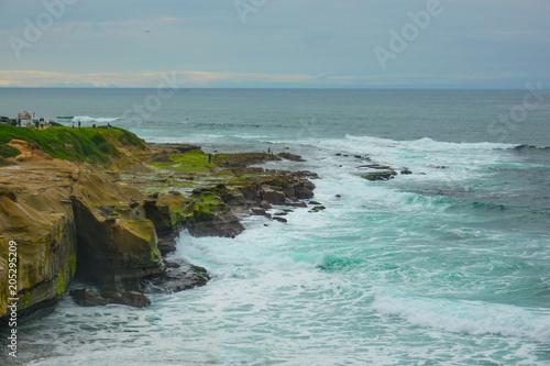 Beautiful Pacific ocean Cliffs beach Poster
