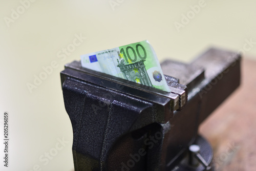 Marvelous Hundred Euro Banknote Squeezed In Vise Vise Tool Fix Paper Theyellowbook Wood Chair Design Ideas Theyellowbookinfo