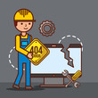 worker holds warning sign tools 404 error page not found vector illustration