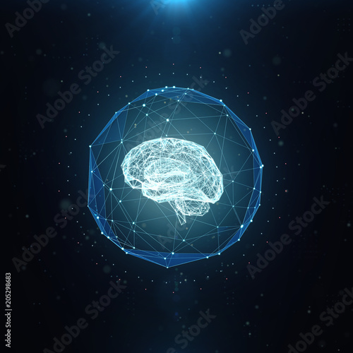 Machine learning , artificial intelligence , ai , deep learning blockchain neural network concept. Brain made with shining wireframe net graphic abstract background 3d render.