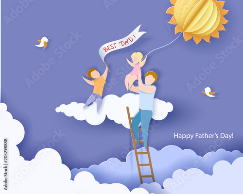 Poster Ciel Handsome man with his children and color balloon on cloud. Happy fathers day card. Paper cut style. Vector illustration